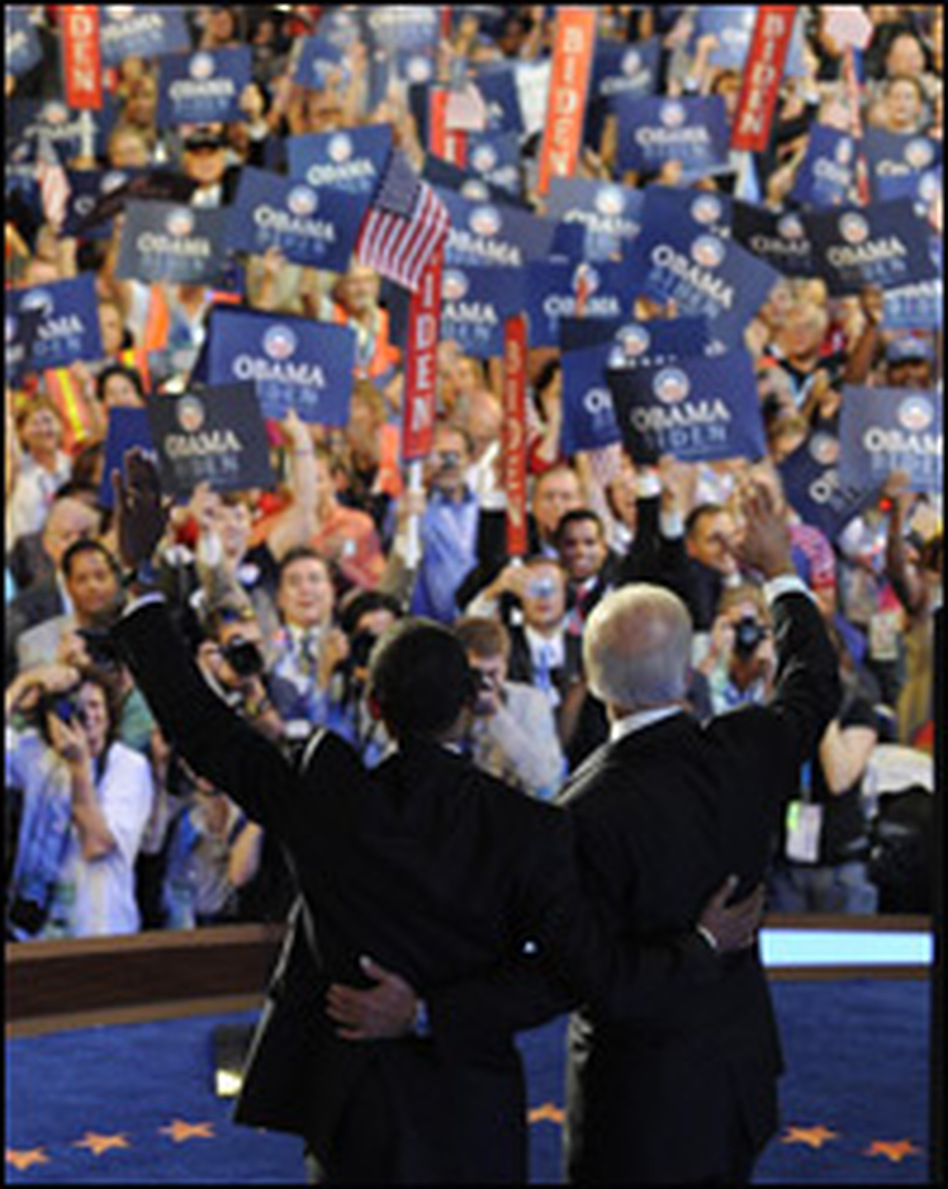 Barack Obama appears with running mate Joe Biden at the Democratic National Convention in Denver on Wednesday.