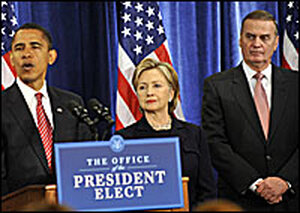 President-elect Obama has nominated Sen. Hillary Clinton and Gen. James Jones to his Cabinet.