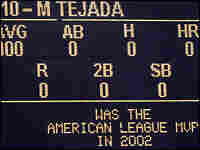 Season statisctics for Miguel Tejada  of the Houston Astros are displayed on the board.