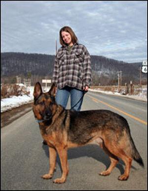 Jamie Mangan and her dog Rex