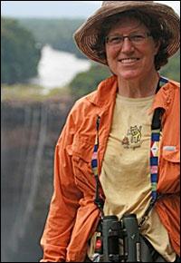 Julie Zickefoose  in front of Kaieteur Falls, Guyana