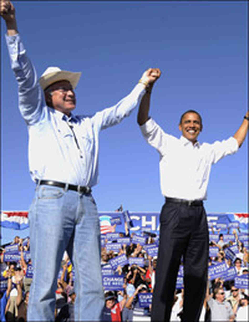 Barack Obama and Ken Salazar at an Obama campaign rally in September.