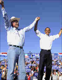 Barack Obama and Ken Salazar at an Obama campaign rally in September.