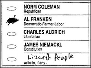 """A voter cast a ballot for Al Franken, but also put """"Lizard People"""" as a write-in candidate."""
