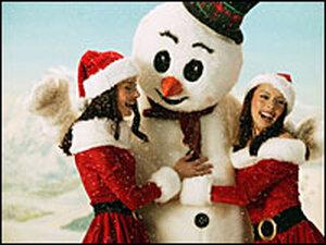 The Cheeky Girls shooting a Christmas music video.