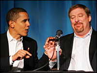 Barack Obama and Rick Warren speak before a press conference at the 2006 Global Summit on AIDS