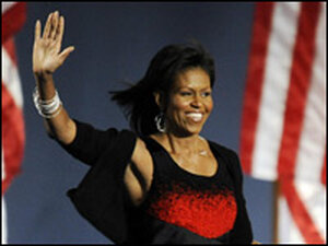 Michelle Obama onstage on election night.