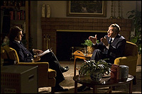 Michael sheen and frank langella in 'frost/nixon.'
