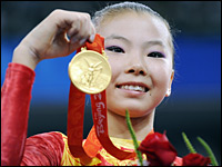 He Kexin won the gold in the women's uneven bars on Aug. 18.