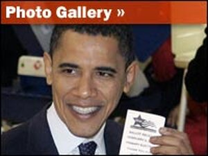 Sen. Barack Obama shows confirmation that he voted in Chicago during the Illinois primary.