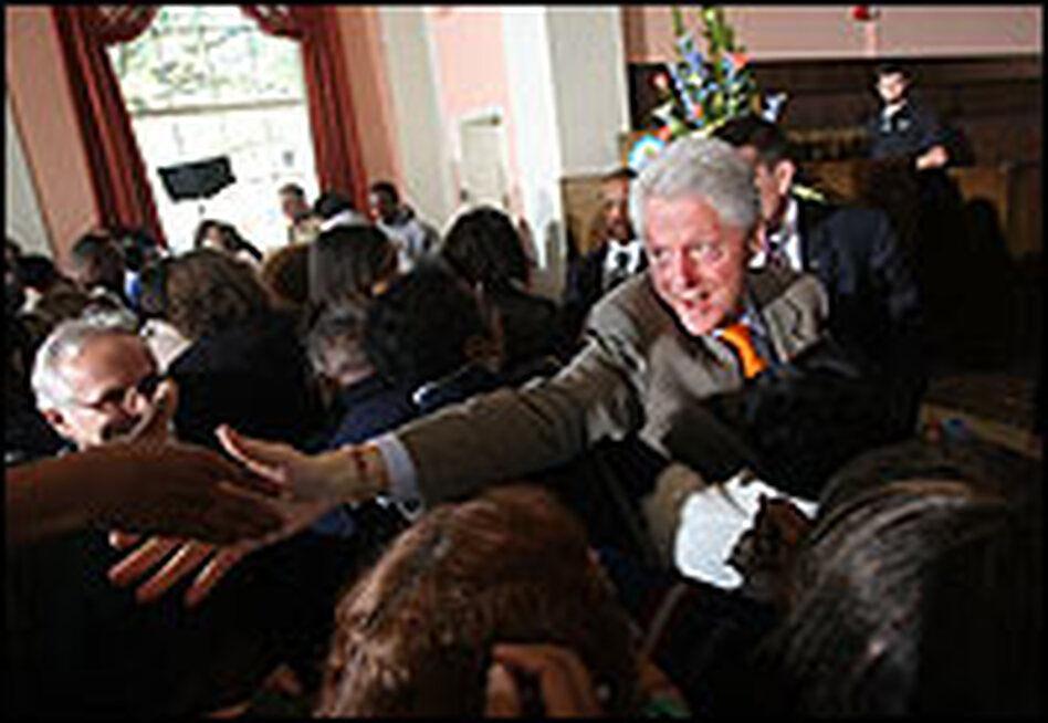 Former U.S. President Bill Clinton greets supporters at a campaign rally for wife Sen Hillary Clinton on Feb. 8, 2008. Clinton is speaking at five rallies across the state ahead of Saturday's primary.
