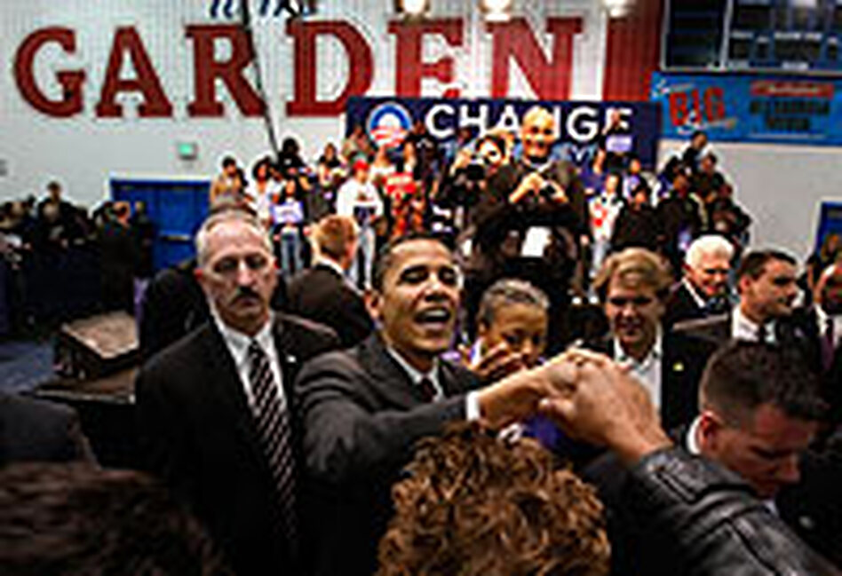 Democratic presidential candidate Sen. Barack Obama campaigns Feb. 10 at T.C. Williams High School in Alexandria, Va.