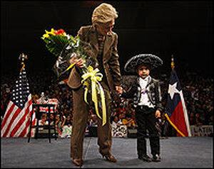 Hillary Clinton with Texas boy