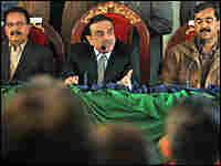 Asif Ali Zardari, widower of slain opposition leader Benazir Bhutto, addresses supporters.