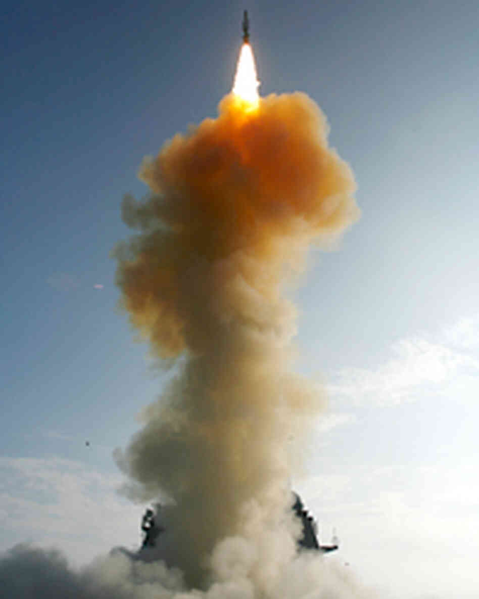 A handout image provided by the U.S. Navy shows the USS Lake Erie launching a Standard Missile-3.