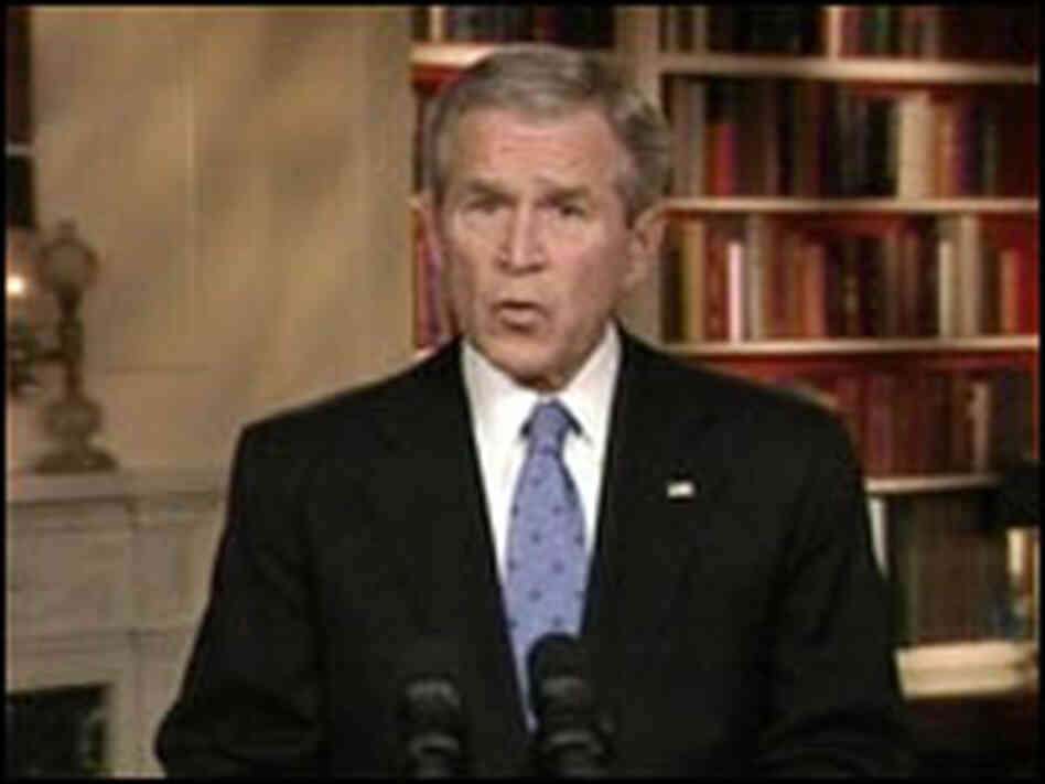 President Bush addresses the nation last year.