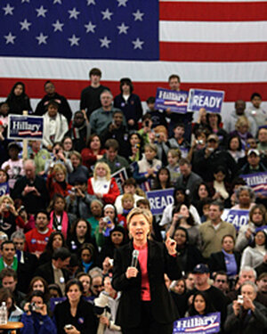 Democratic presidential candidate Sen. Hillary Clinton talks during a campaign event in Nashua.