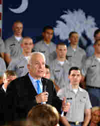Republican presidential contender Sen. John McCain speaks at a campaign rally at The Citadel