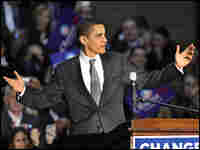 Democratic presidential hopeful Sen. Barack Obama addresses a rally at St. Peter's College in N.J.