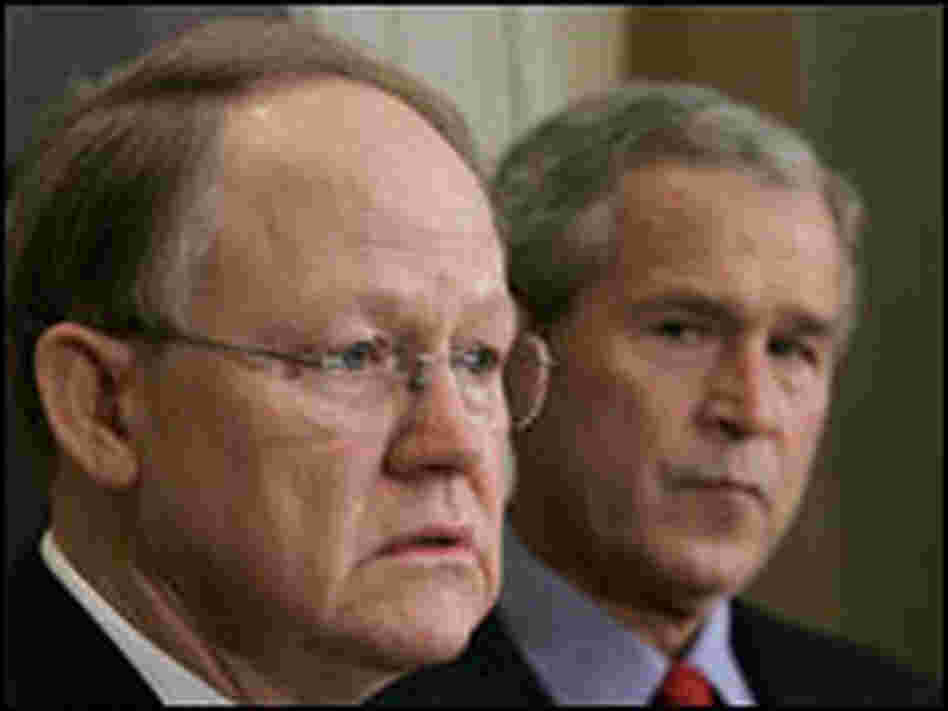 National Intelligence Director-designate Mike McConnell with President Bush on Jan. 5, 2007.