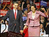 Obama and his wife Michelle celebrate victory in Saturday's South Carolina primary.