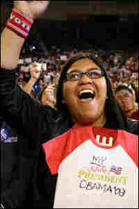 A supporter of Barack Obama cheers during a rally in Arizona.