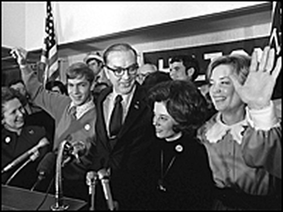 North Carolina's Republican Senator-elect Jesse Helms (center) is surrounded by his family after his victory speech at Raleigh, N.C., in this Nov. 8, 1972, photo.