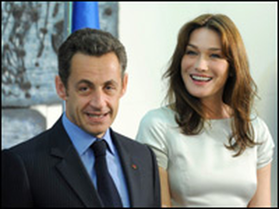 French President Nicolas Sarkozy and his wife, Carla Bruni, attend an official dinner with Israel's President Shimon Peres on June 23 in Jerusalem.