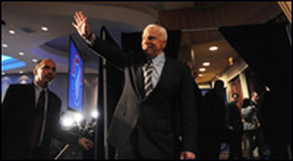 Republican Arizona Sen. John McCain waves after he addressed the League of United Latin American Citizens Convention on July 8, 2008, in Washington D.C.