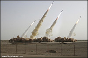 An image of four missiles being launched.