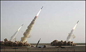 An image showing three missiles being launched.