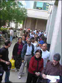 Customers line up outside IndyMac bank in Pasadena, Calif.