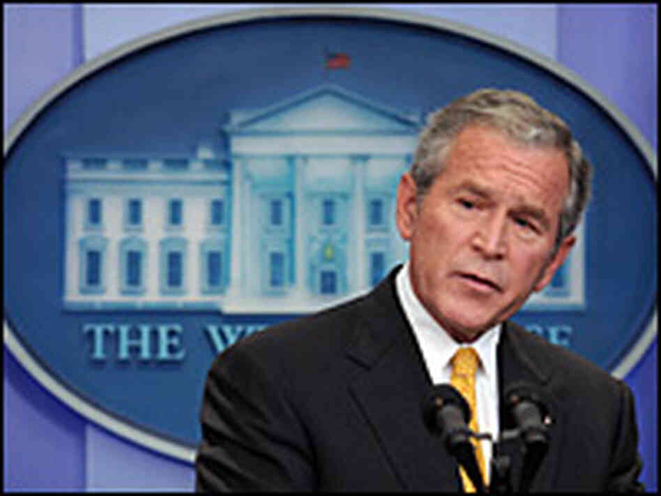 President Bush addresses reporters at a news conference Tuesday at the White House.