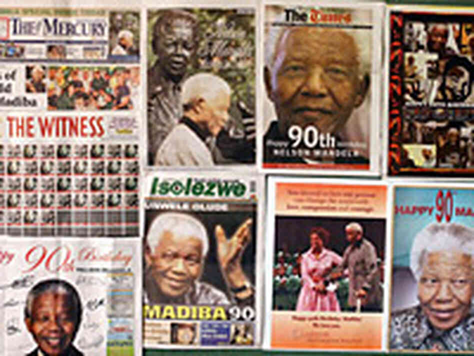 Front pages of South African newspapers.