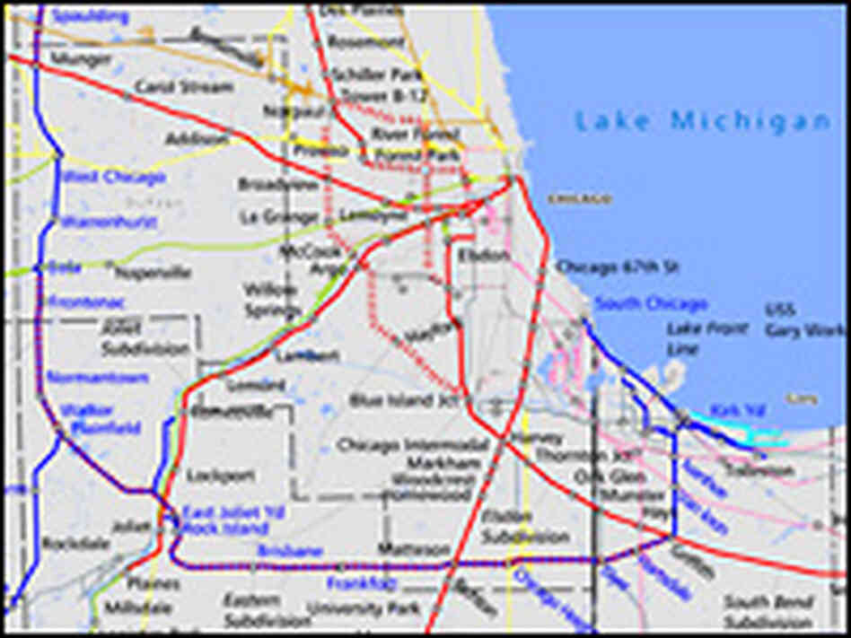Map depicting the Canadian National's proposed bypass route around Chicago's train lines.