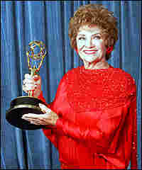 Estelle Getty with an Emmy she won in 1988 for playing Sophia.