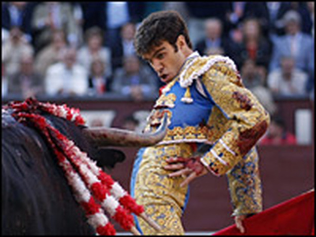 Spanish matador Jose Tomas performs a pass during a bullfight on June 5 at Las Ventas bull ring  in Madrid.