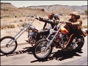 Peter Fonda as Wyatt and Dennis Hopper as Billy in 'Easy Rider .'