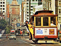 "Rice-A-Roni advertised as the ""The San Francisco Treat"" on the city's iconic cable car."