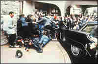 Police and Secret Service agents during Reagan assassination attempt