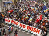 Crowds in Rome demonstrate against the Iraq war and President Bush in June 2004.