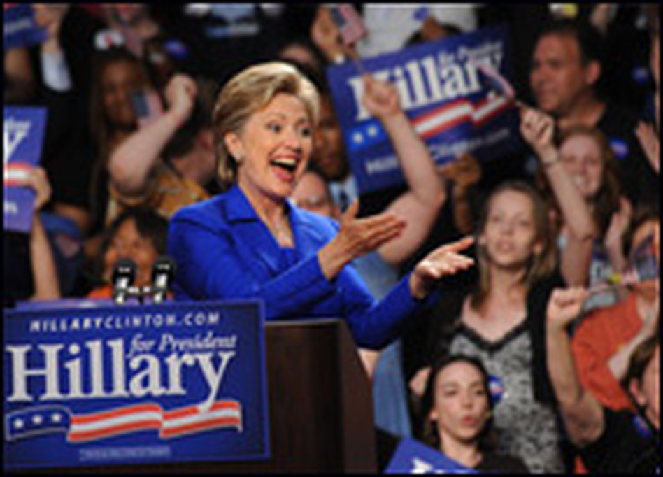 New York Sen. Hillary Clinton addresses the crowd Tuesday at her primary night event at Baruch College in New York.