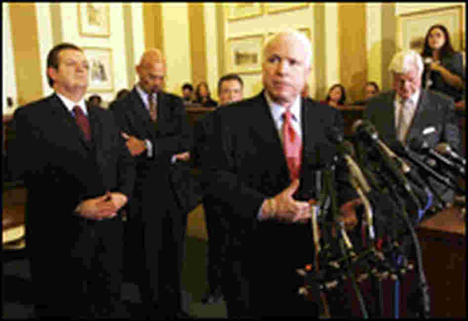 GOP Arizona Sen. John McCain speaks at a press conference on immigration.