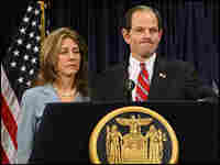 New York Governor Eliot Spitzer holds a news conference in New York City with his wife, Silda.