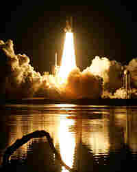 The space shuttle Endeavour lifts off from the launch pad 39-A at the Kennedy Space Center.