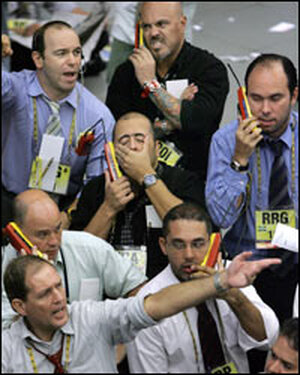 Stock traders negotiate in Sao Paolo Monday morning