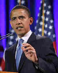 "Sen. Barack Obama (D-IL) speaks in Philadelphia, where he condemned ""profoundly distorted"" sermons."