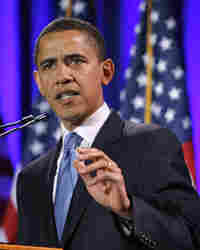Senator Barack Obama (D-IL) speaks to supporters at the Community College of Beaver County March 17,