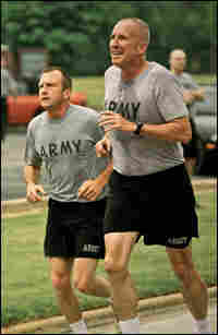 Army Spc. Tom Owens during his two-mile run.