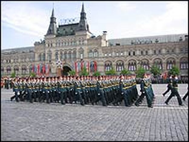 Soldiers march on Red Square during the annual Victory Day parade on Friday. New Russian President Dmitri Medvedev said in a speech that Victory Day, which marks the Soviet Union's defeat of Nazi Germany, is Russia's most sacred holiday.
